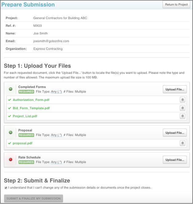 How do I internally upload vendor submissions into Bonfire