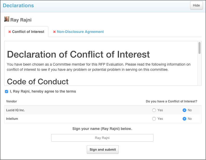 Declaration Module Conflict Of Interest Coi And Non Disclosure